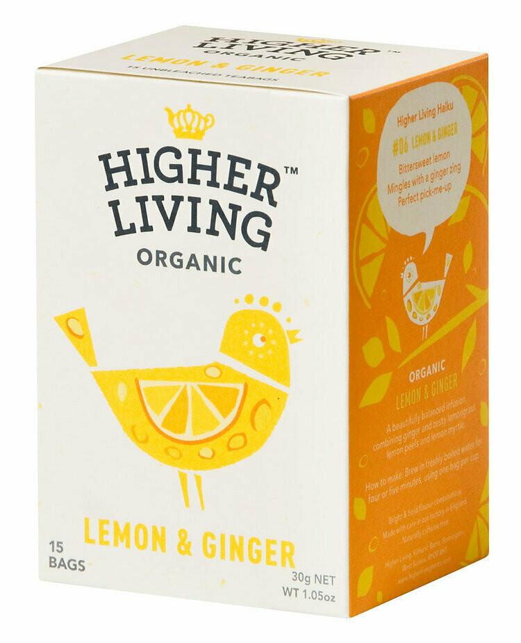 Lemon & Ginger Tea شاي بالليمون والزنجبيل (Box) - Higher Living Organic