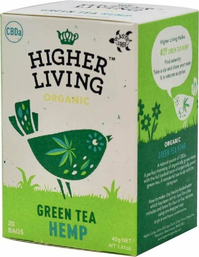 Green Tea & Hemp Tea الشاي الأخضر وشاي القنب (Box) - Higher Living Organic