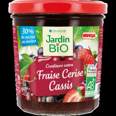 Confiture Fraise Cerise Cassis Bio مربى الفراولة والكرز الكشمش الأسود العضوي (Jar) - Jardin Bio