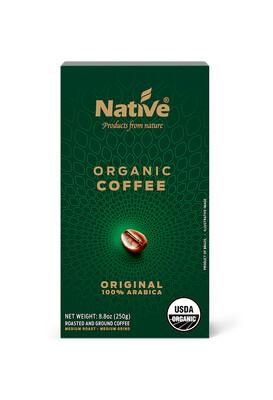 Coffee Roasted and Ground Coffee Organic القهوة العضوية المحمصة والقهوة المطحونة (Box) - Native
