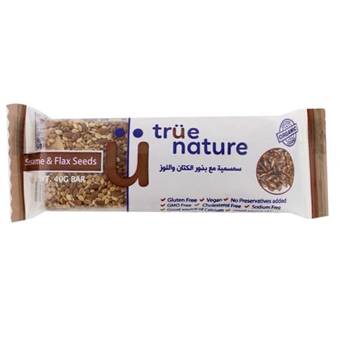 Bar Sesame & Flaxseed Organic لوح السمسم وبذور الكتان عضوي (Bar) - True Nature