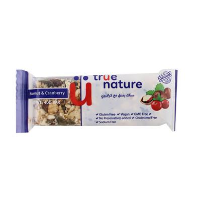 Bar Hazelnut & Cranberry Organic بار البندق والتوت البري عضوية (Bar) - True Nature