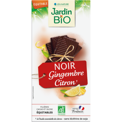 Chocolat Noir Gingembre/Citron شوكولاتة داكنة زنجبيل / ليمون (Bar) - Jardin Bio