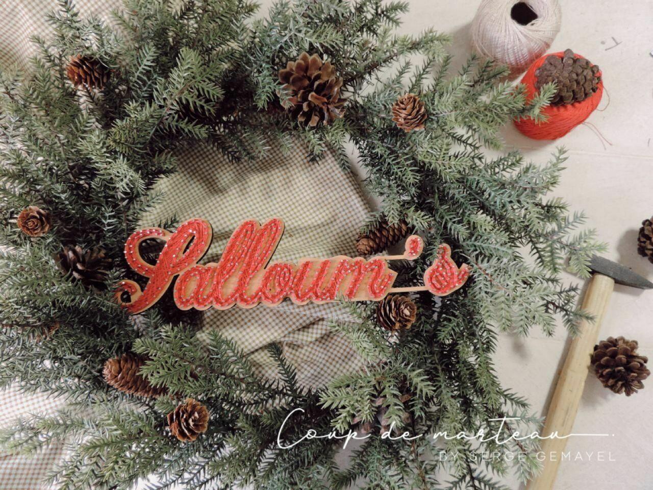 String Art - Wreaths Family Name Christmas Green (Piece) - Coup de Marteau