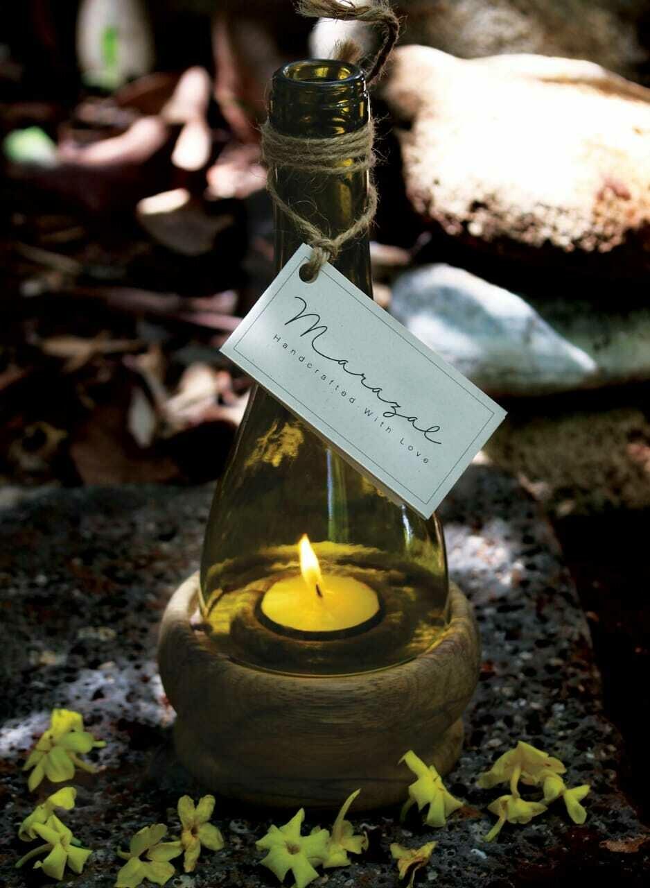 Bottle Upcycling Candle Wood Base (Piece) - Marazal