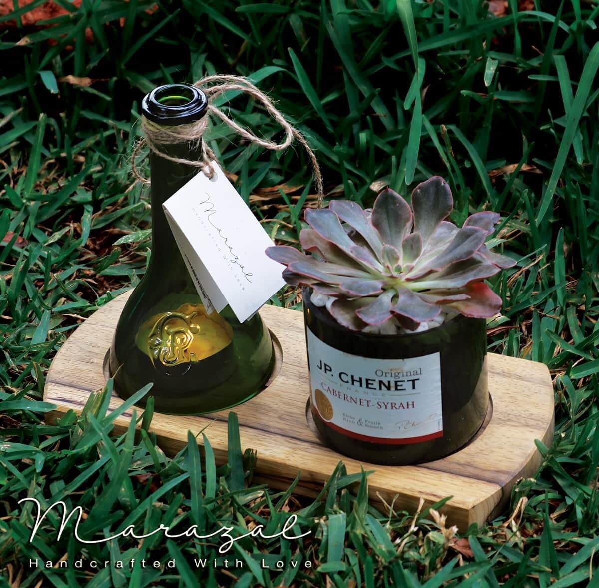 Bottle Upcycling Candle with Plant (Piece) - Marazal