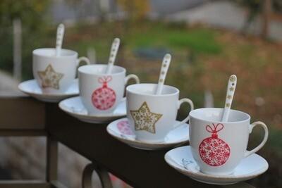 Tea Cups White (Piece) - Coup de Glue