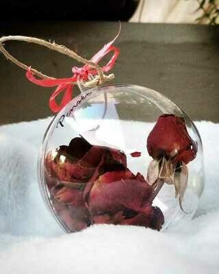 Ball Christmas Dried Red Roses (Piece) - Pensee