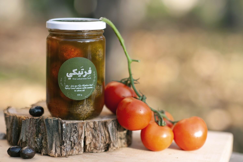 Labneh Cow Chili and Zaatar لبنة بقري حار و زعتر (Jar) - Fertaike