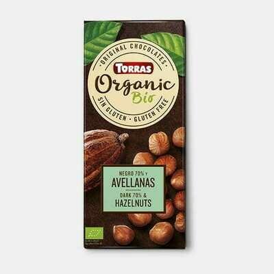 Chocolate Dark 70% Cacao with Hazelnut Organic شوكولاتة داكنة كاكاو مع بندق عضوي (Bag) - Nabat