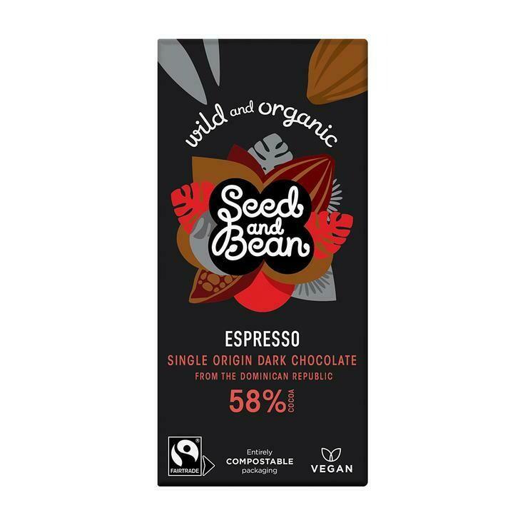 Chocolate Extra Dark 58% Cacao Coffee Espresso (Bar) - Seed and Bean