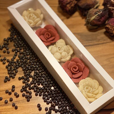 Handcrafted Marzipan Flowers with Edible Gold Leaves (Box) - Le Marzipan de Zouk