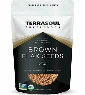 Flax Seeds Brown Raw and Sproutable (Bag) - Terrasoul Superfoods