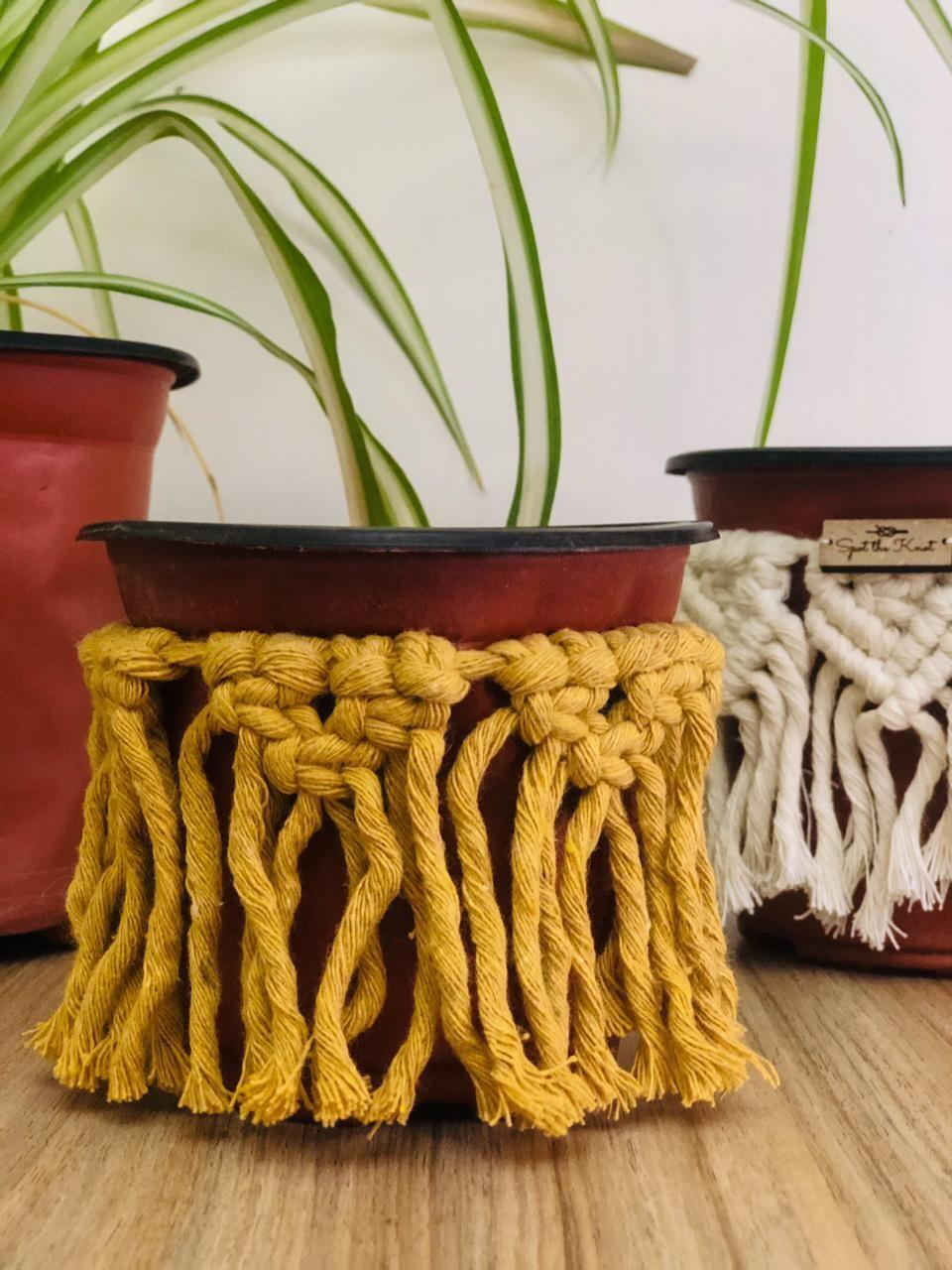 Macrame Cover Pot Yellow (Piece) - Spot the Knot