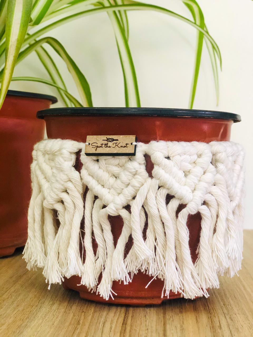 Macrame Cover Pot White (Piece) - Spot the Knot