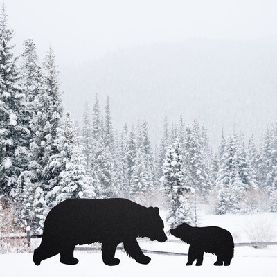 Black Bear Family Silhouettes