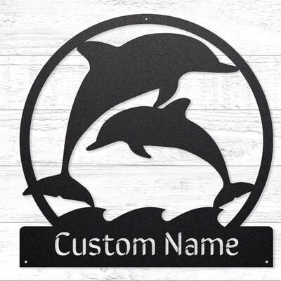 Playful Dolphins Custom Sign • 14 Gauge Steel