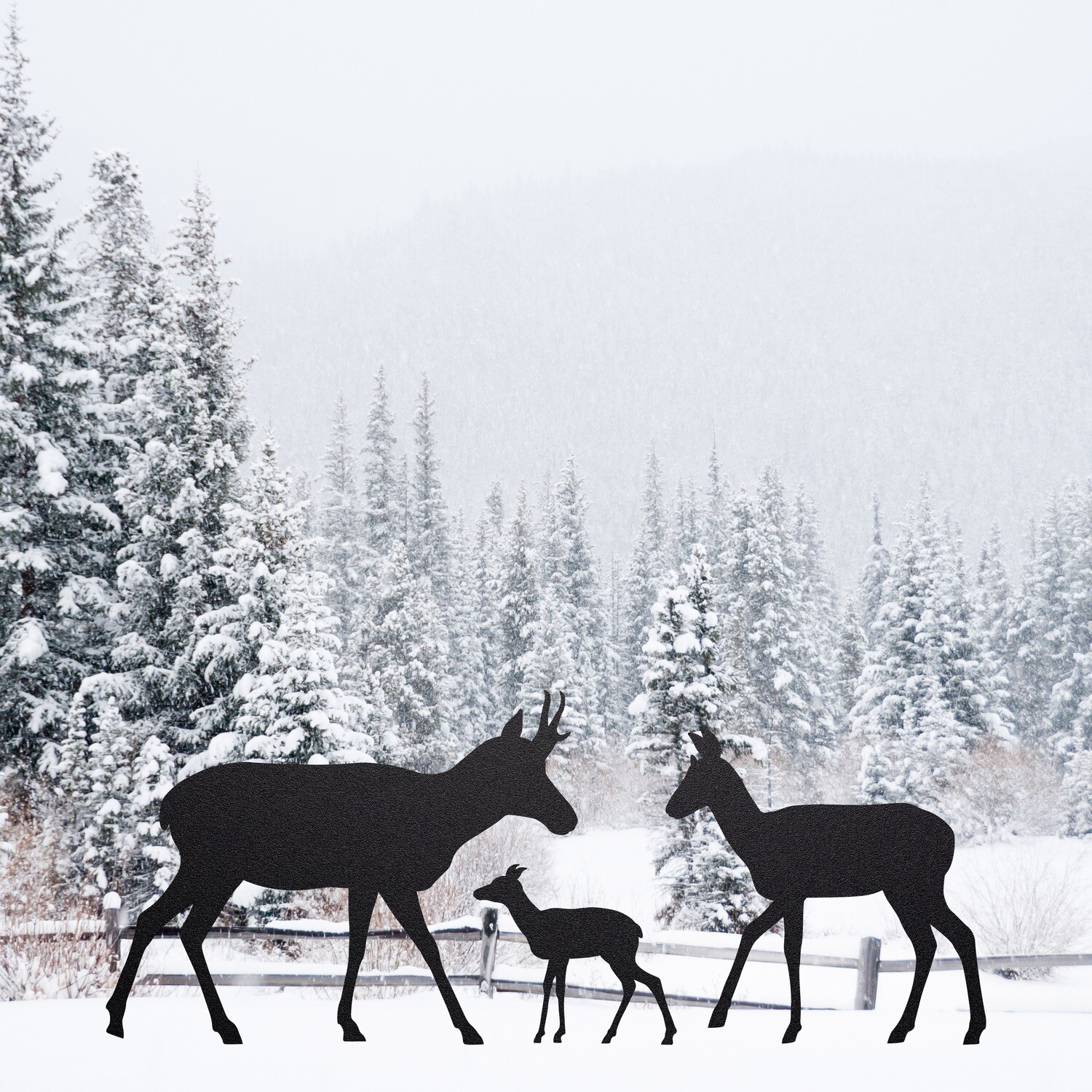 Pronghorn Family Silhouettes