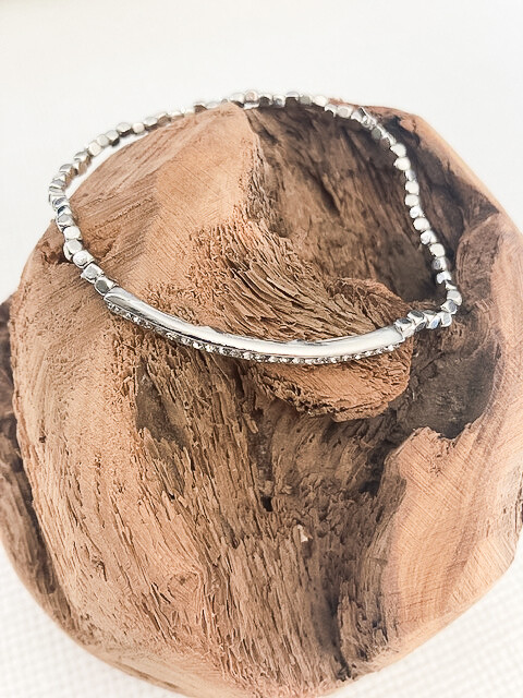 Silver Stacking Cubes + Pave insert Bracelet