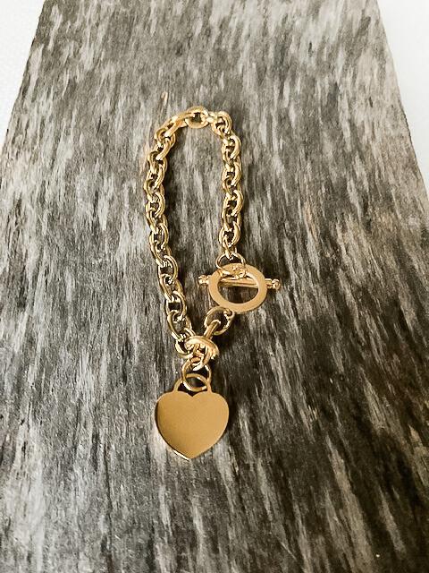 18k Gold Link Bracelet + Heart Charm