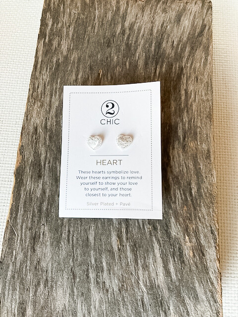 Silver Plated Heart + Pave Earring