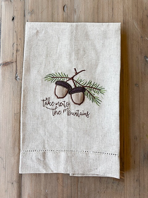 Acorn Embroidered Towel