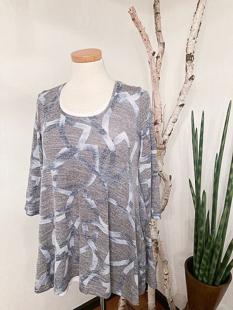 Aryeh Grey/Blue Abstract Knit Top