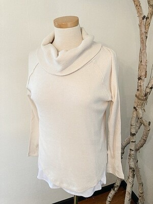 Charlie B Cowl Neck Ribbed Knit Top