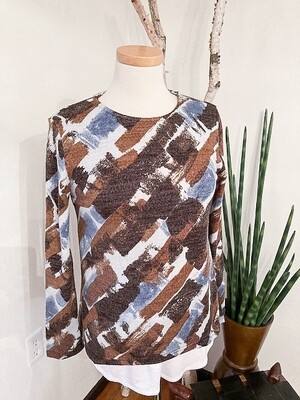 Aryeh Abstract Long Sleeve Crew Brushed Knit Top