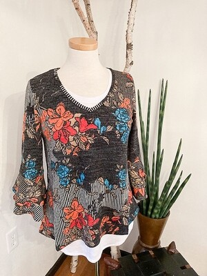 Floral Print Tulip Sleeve Knit Top
