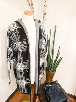 Charlie B Plaid Hooded Sweater Cardigan