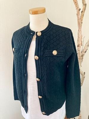 EsQualo Gold Button Sweater Jacket