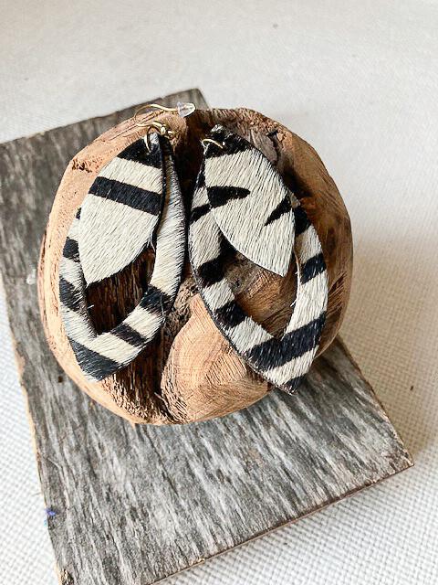Zebra Print Leather Earring