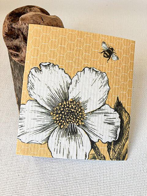 Flower + Bee on Yellow Swedish Dishcloth