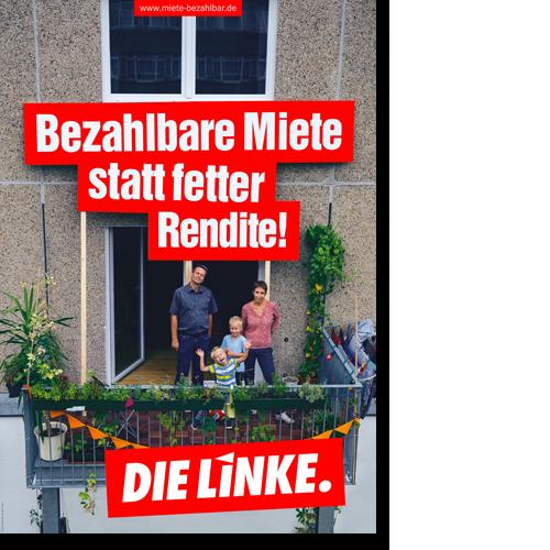 """Plakat """"Bezahlbare Miete statt fetter Rendite!"""""""