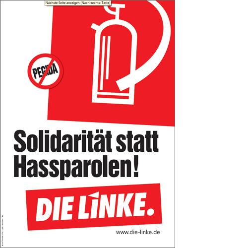 """Plakat """"Solidarität statt Hassparolen!"""""""