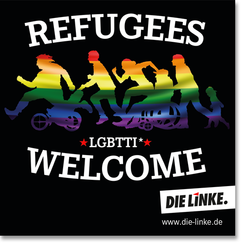 """Aufkleber """"Refugees Welcome, LGBTTI"""""""