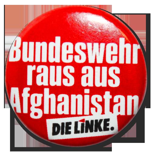 """Button """"Bundeswehr raus aus Afghanistan"""""""