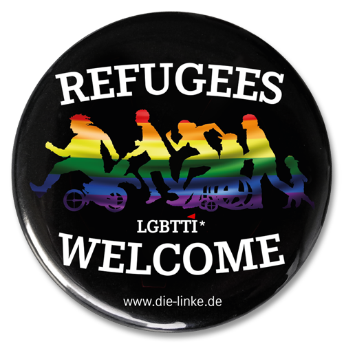 "Button ""Refugees Welcome LGBTTI"""