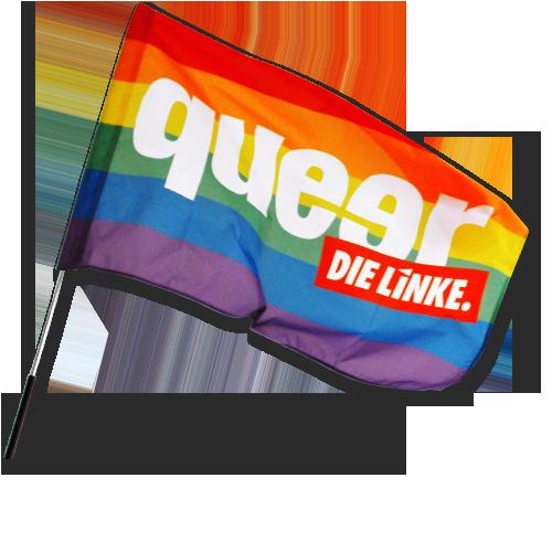 "Fahne ""queer"" mit Hohlsaum"