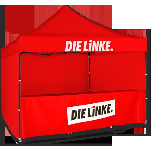 """Zelt rot mit Tisch """"DIE LINKE."""""""