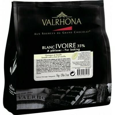 FEVES CHOCOLAT A PATISSER IVOIRE 35% SACHET DE 1KG VALRHONA