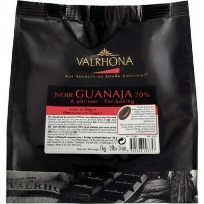 FEVES CHOCOLAT A PATISSER NOIR GUANAJA 70% SACHET DE 1KG VALRHONA