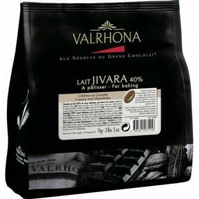 FEVES CHOCOLAT A PATISSER LAIT JIVARA 40% SACHET DE 1KG VALRHONA