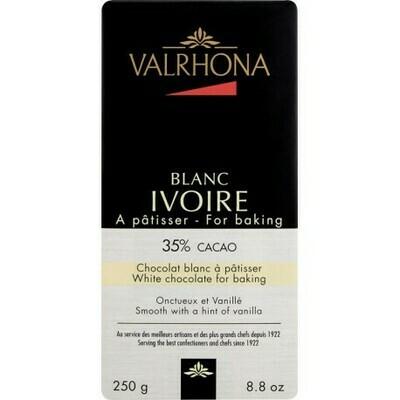 TABLETTE CHOCOLAT A PATISSER BLANC IVOIRE 35% 250G VALRHONA