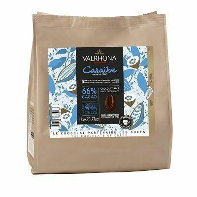 FEVES CHOCOLAT A PATISSER NOIR CARAIBES 66% SACHET DE 1KG VALRHONA
