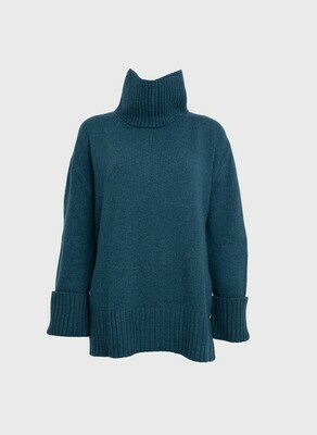 OVERSIZED CASHMERE-WOOL SWEATER TURTLE NECK IN DARK GREEN