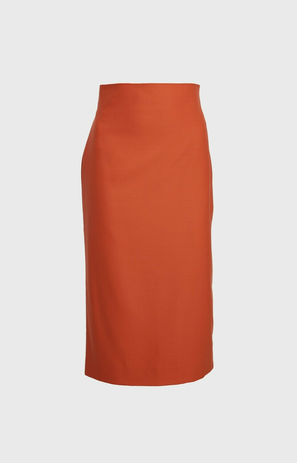 HIGH-WAISTED PENCIL SKIRT MIDI IN RUST