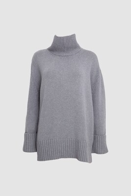 OVERSIZED CASHMERE-WOOL SWEATER TURTLE NECK IN GREY