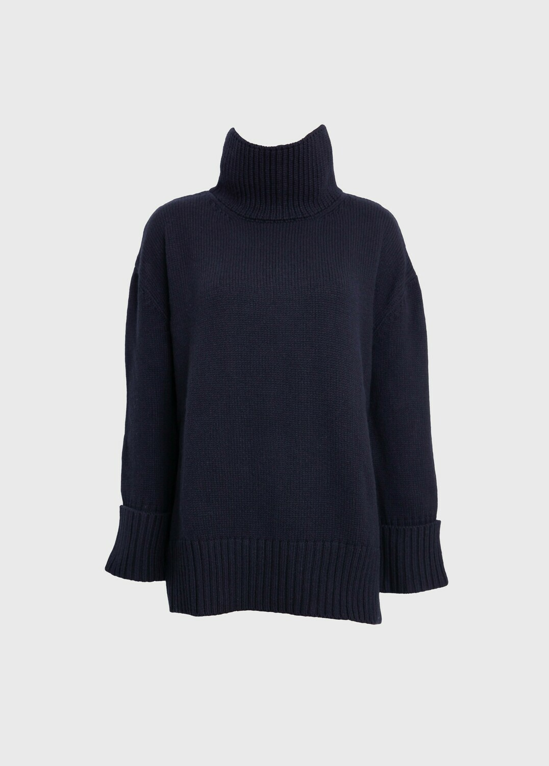 OVERSIZED CASHMERE-WOOL SWEATER TURTLE NECK IN BLACK